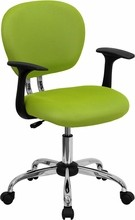 Flash Furniture H-2376-F-GN-ARMS-GG Mid-Back Apple Green Mesh Task Chair with Arms and Chrome Base