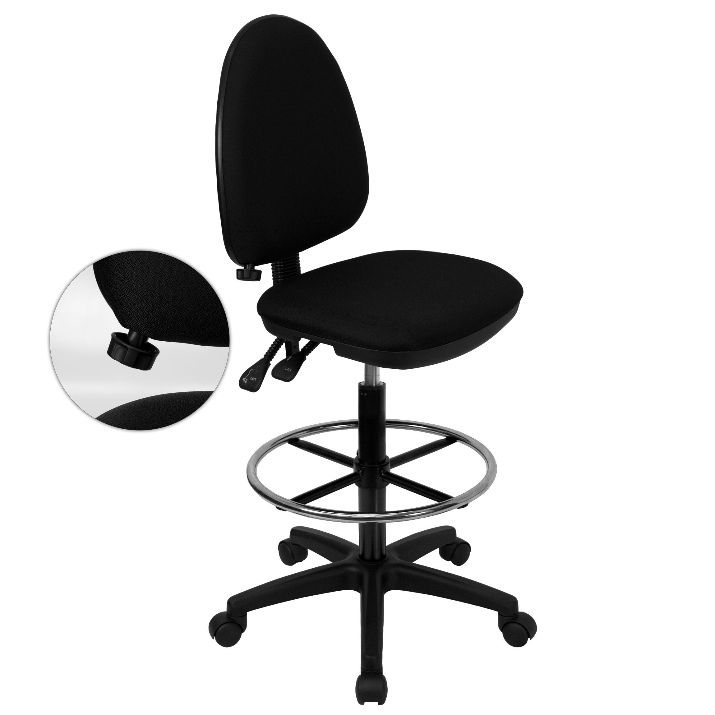 Mid-back Black Fabric Drafting Stool with Adjustable Lumbar Support