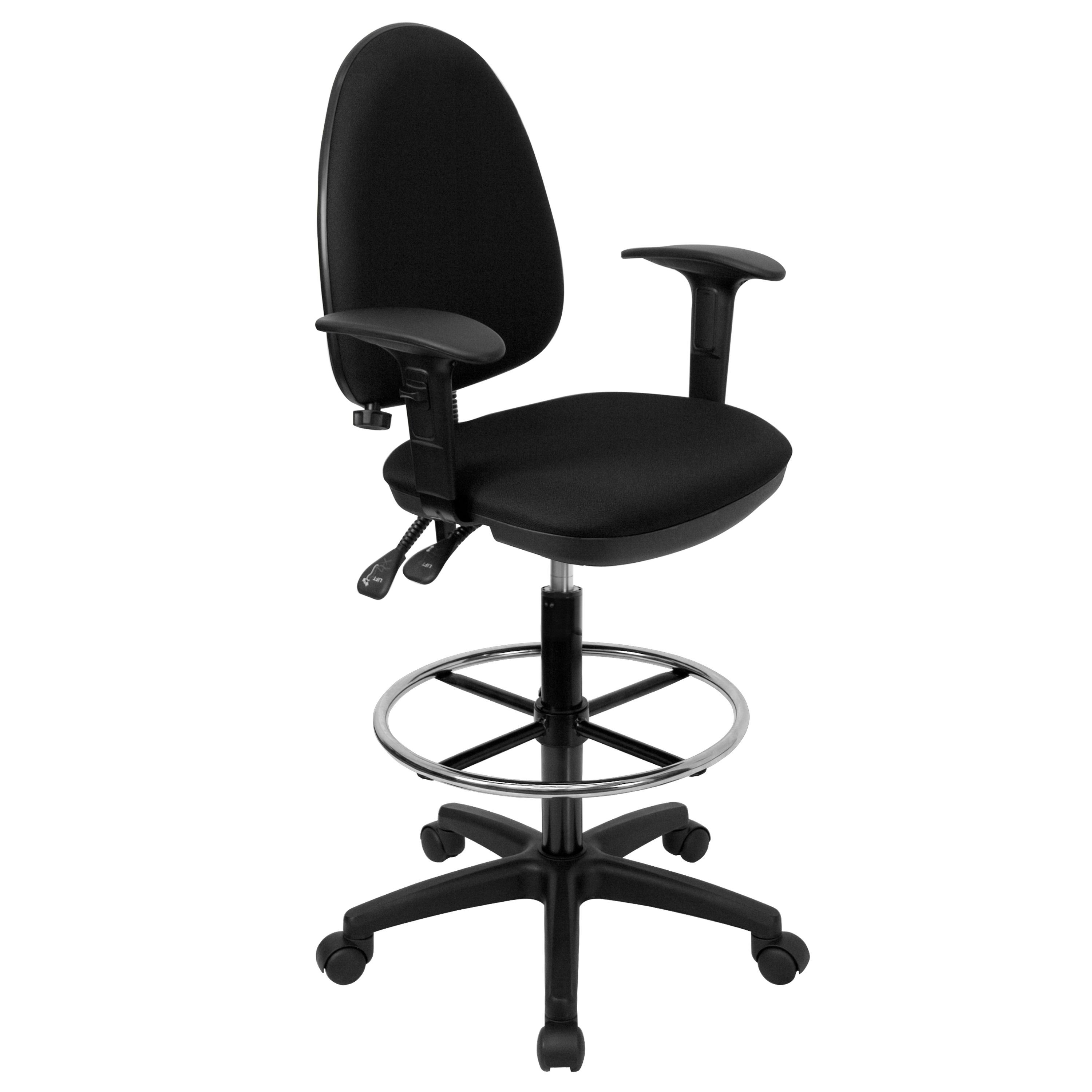 Flash Furniture WL-A654MG-BK-AD-GG Mid-Back Black Fabric Multi-Functional Drafting Stool with Arms and Adjustable Lumbar Support