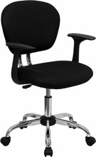 Flash Furniture H-2376-F-BK-ARMS-GG Mid-Back Black Mesh Task Chair with Arms and Chrome Base