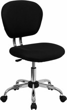 Flash Furniture H-2376-F-BK-GG Mid-Back Black Mesh Task Chair with Chrome Base
