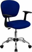 Flash Furniture H-2376-F-BLUE-ARMS-GG Mid-Back Blue Mesh Task Chair with Arms and Chrome Base