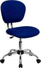 Flash Furniture H-2376-F-BLUE-GG Mid-Back Blue Mesh Task Chair with Chrome Base