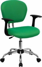 Flash Furniture H-2376-F-BRGRN-ARMS-GG Mid-Back Bright Green Mesh Task Chair with Arms and Chrome Base
