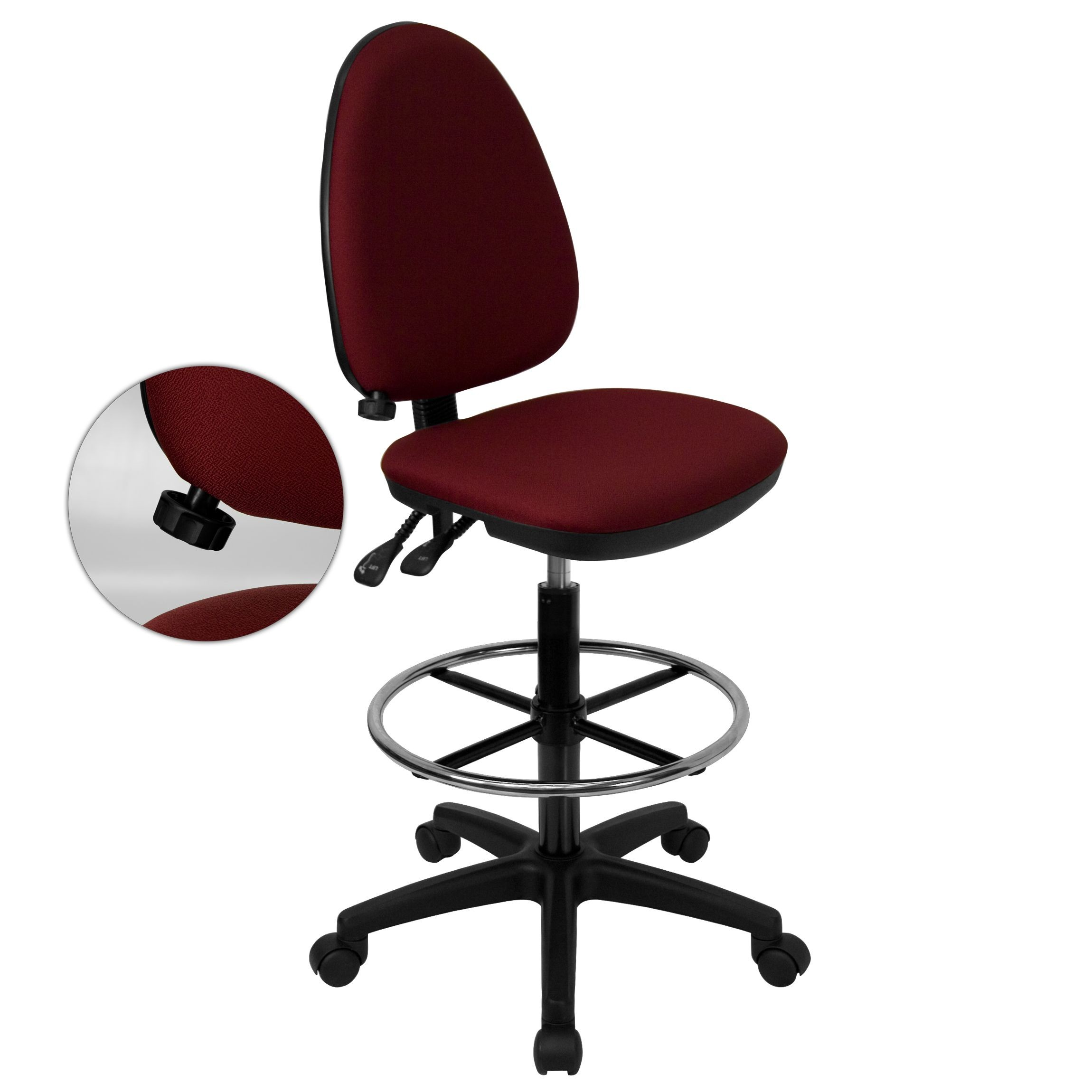 Flash Furniture WL-A654MG-BY-D-GG Mid-Back Burgundy Fabric Multi-Functional Drafting Stool with Adjustable Lumbar Support