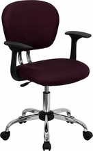 Flash Furniture H-2376-F-BY-ARMS-GG Mid-Back Burgundy Mesh Task Chair with Arms and Chrome Base