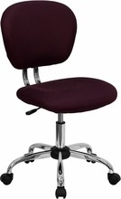 Flash Furniture H-2376-F-BY-GG Mid-Back Burgundy Mesh Task Chair with Chrome Base
