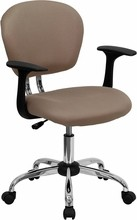 Mid-back Coffee Brown Mesh Task Chair with Arms and Chrome Base