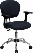 Flash Furniture H-2376-F-GY-ARMS-GG Mid-Back Gray Mesh Task Chair with Arms and Chrome Base
