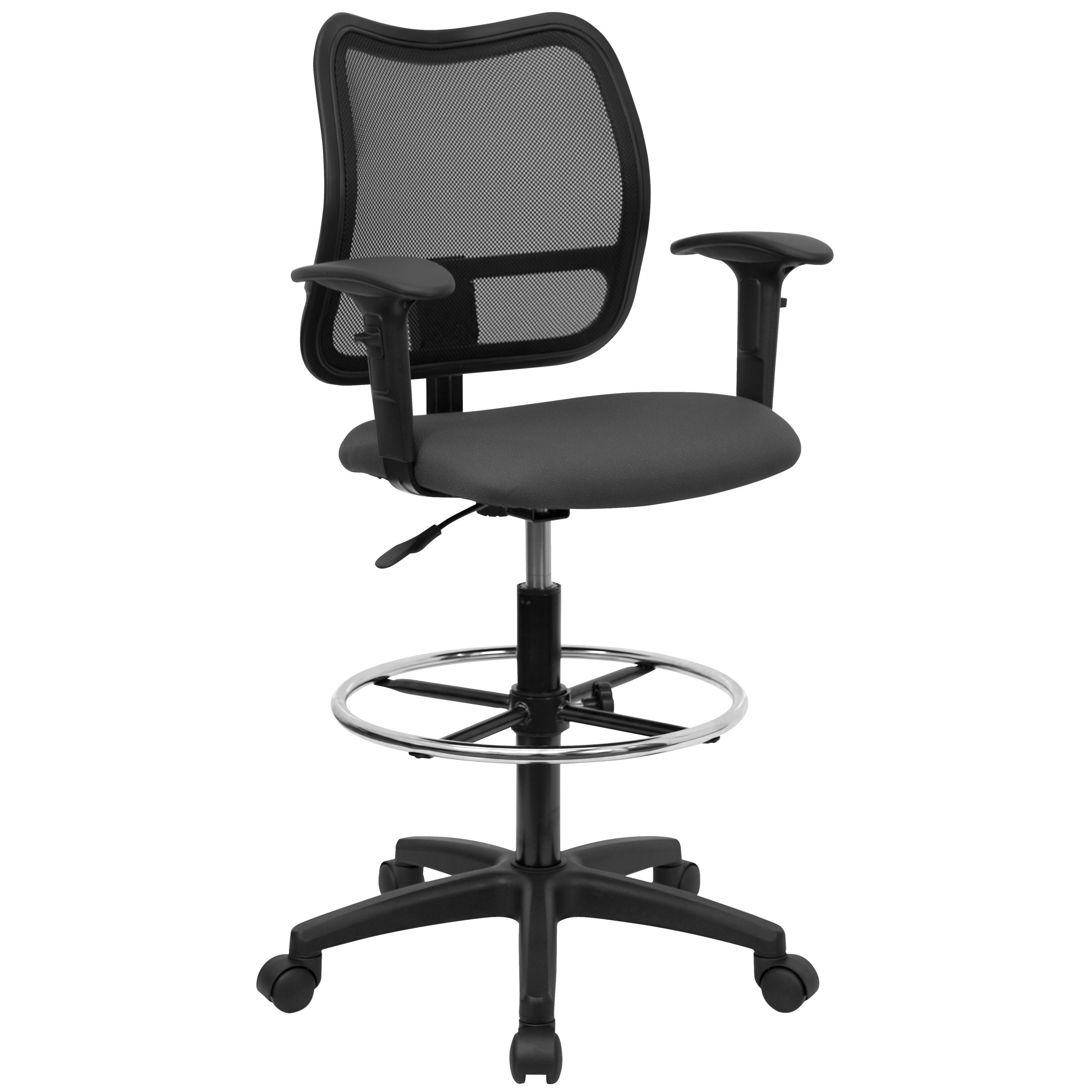 Flash Furniture WL-A277-GY-AD-GG Mid-Back Mesh Drafting Stool with Gray Fabric Seat and Arms