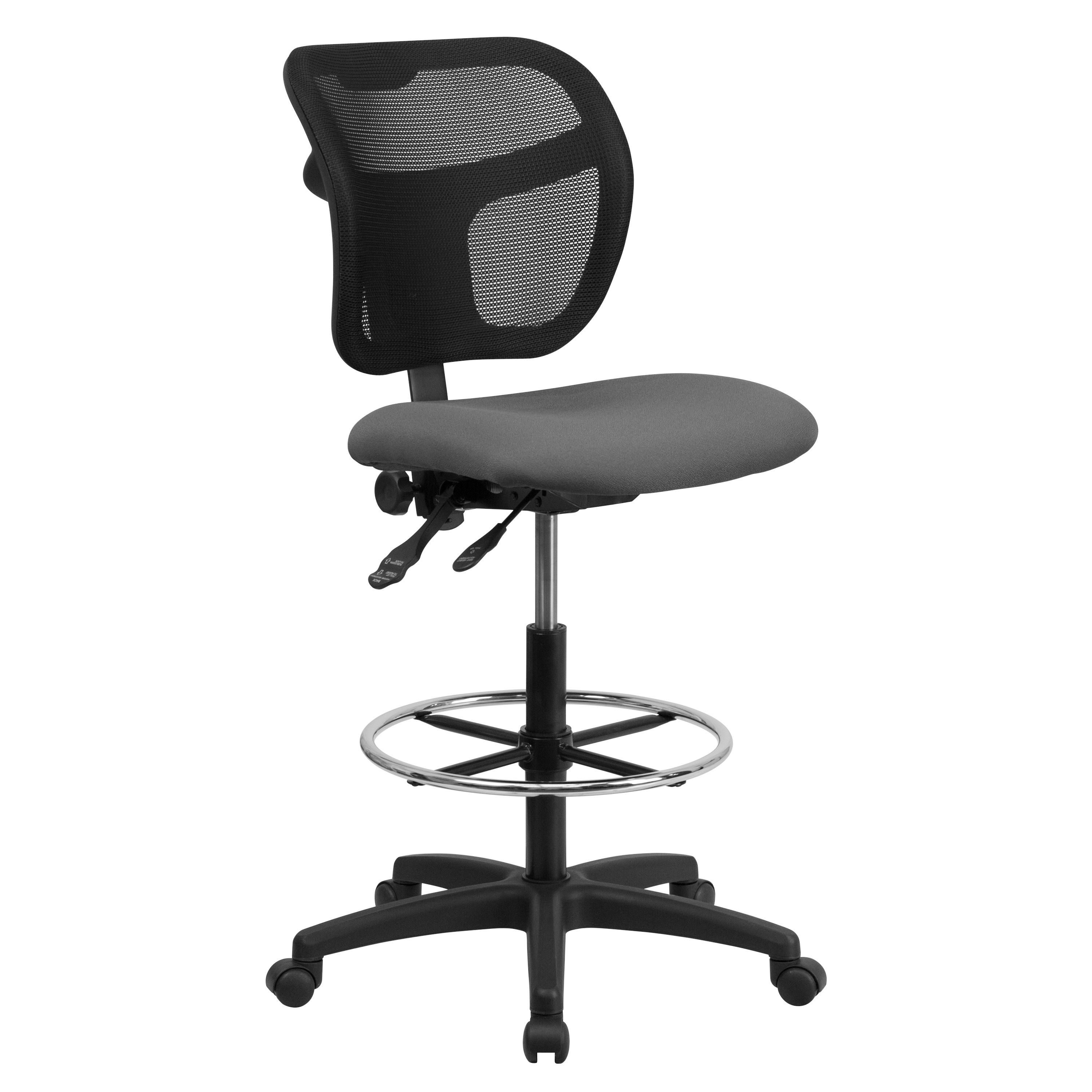 Flash Furniture WL-A7671SYG-GY-D-GG Mid-Back Mesh Drafting Stool with Gray Fabric Seat