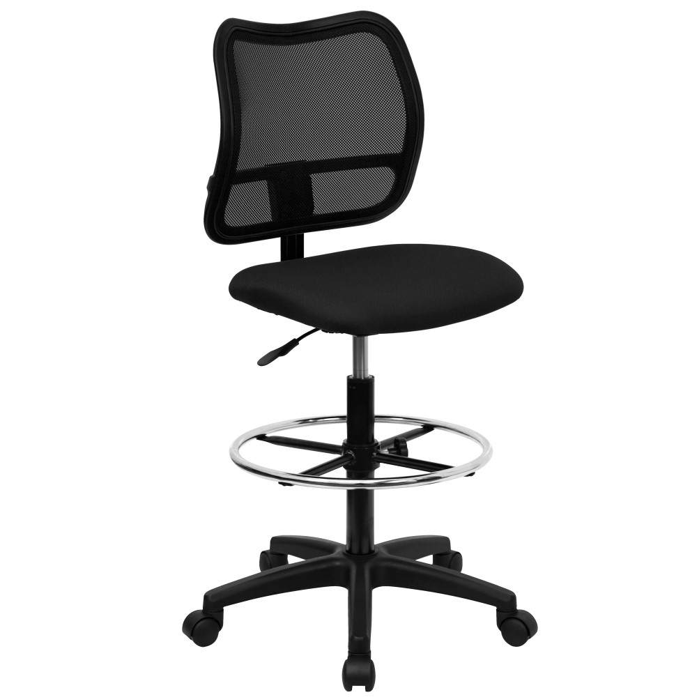 Flash Furniture WL-A277-BK-D-GG Mid-back Mesh Drafting Stool with Black Fabric Seat with Arm Rest