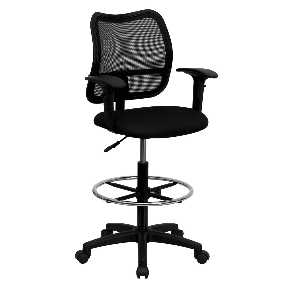 Mid-back Mesh  Stool with Black Fabric Seat and Arms