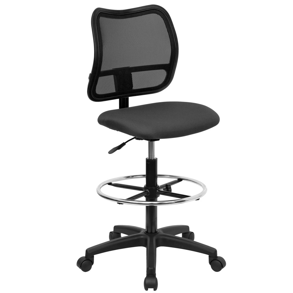 Flash Furniture WL-A277-GY-D-GG Mid-Back Mesh Drafting Stool with Gray Fabric Seat with arms
