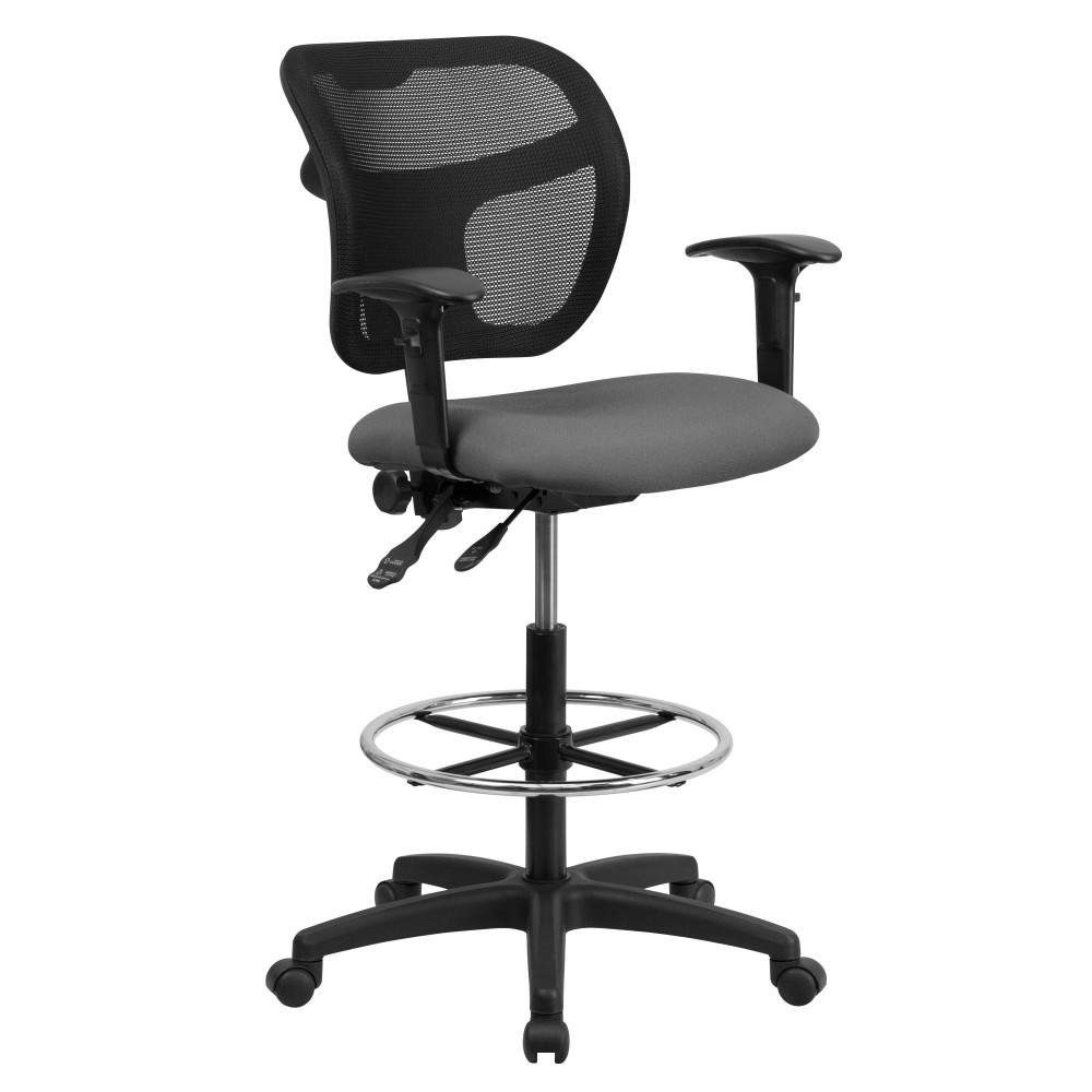 Mid-back Mesh Drafting Stool with Gray Fabric Seat and Arms [ WL-A7671SYG-GY-AD-GG ]