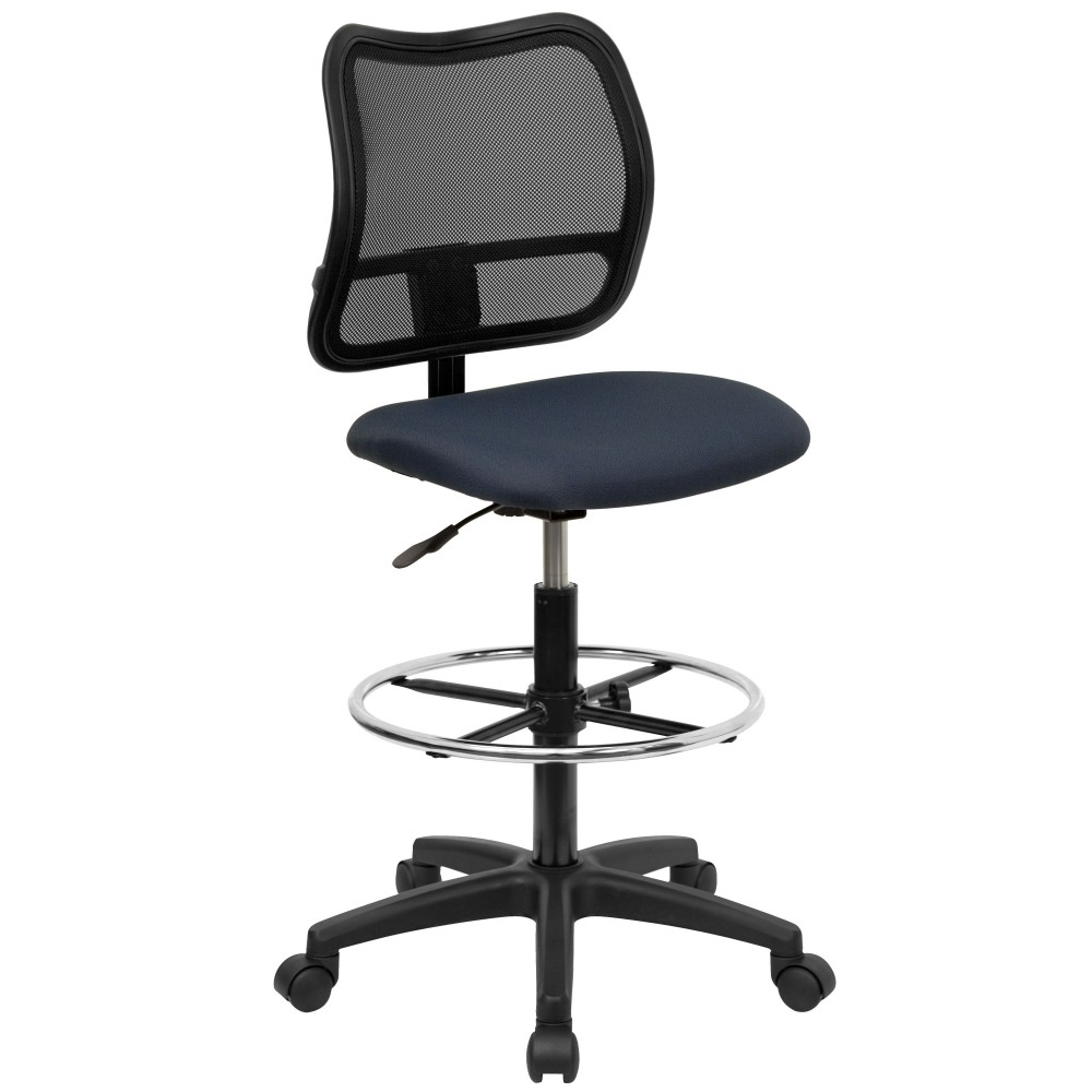Flash Furniture WL-A277-NVY-D-GG Mid-Back Mesh Drafting Stool with Navy Blue Fabric Seat with arm rest