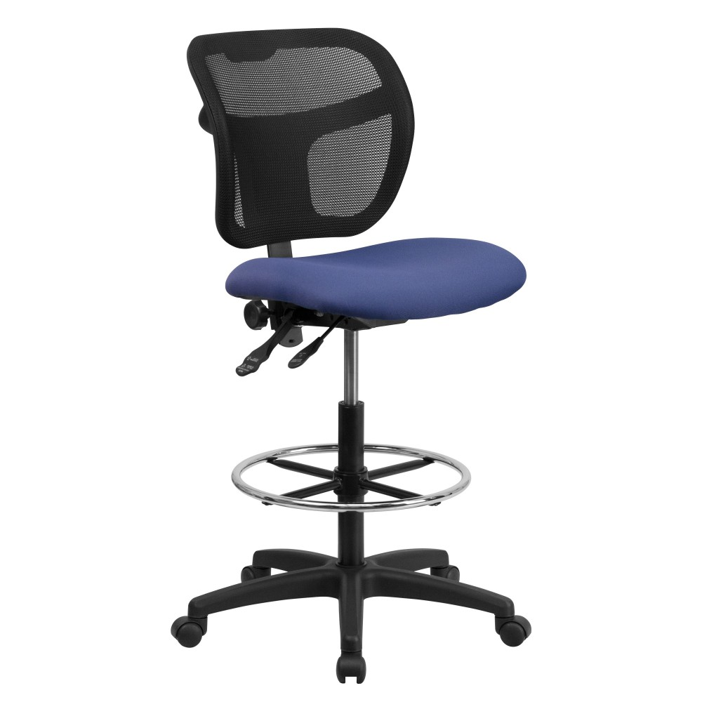 Mid-back Mesh Drafting Stool with Navy Blue Fabric Seat W / O arm rest