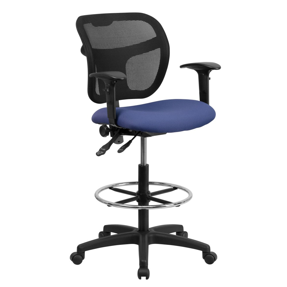 Mid-back Mesh Drafting Stool with Navy Blue Fabric Seat and Arms [WL-A7671SYG-NVY-AD-GG ]