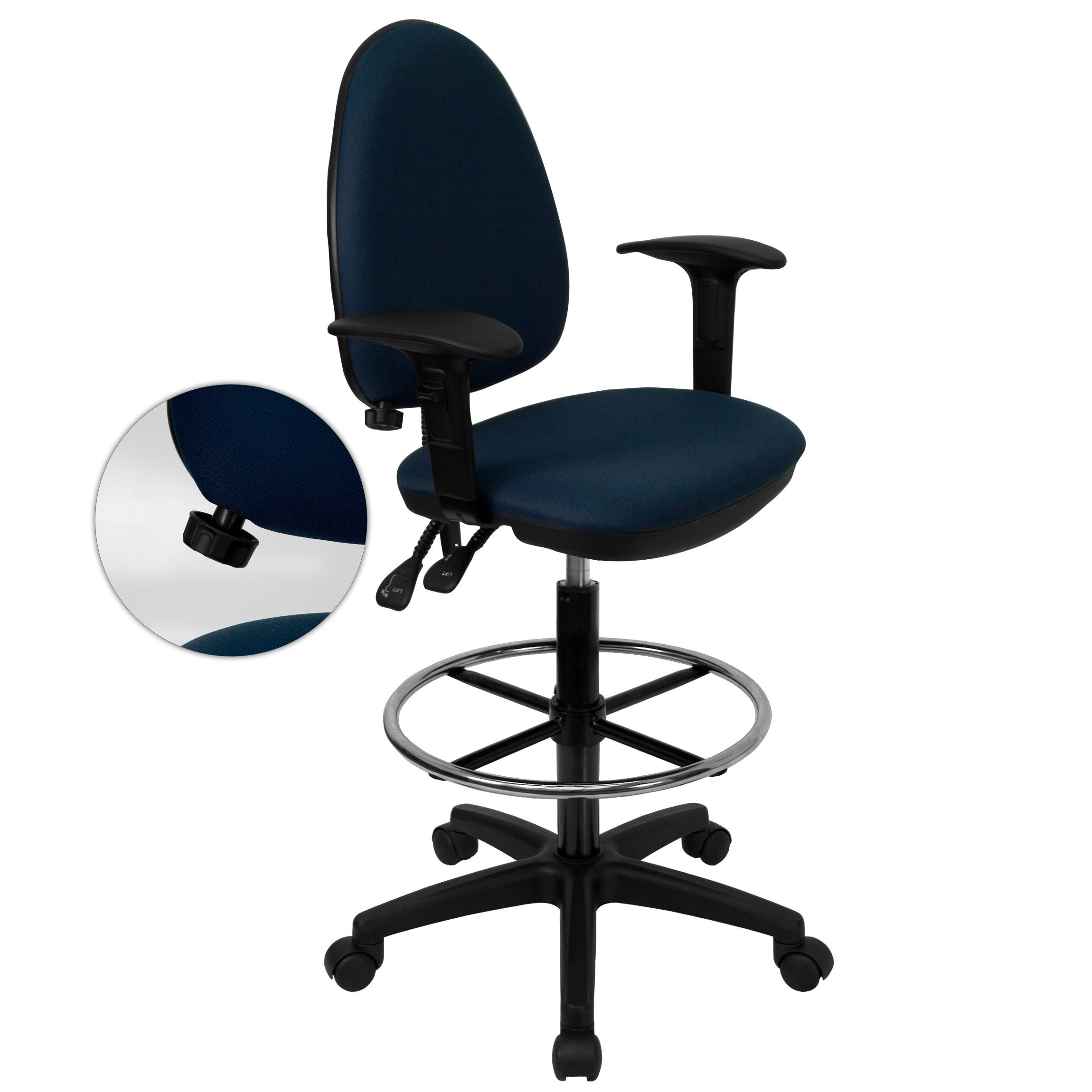 Flash Furniture WL-A654MG-NVY-AD-GG Mid-Back Navy Blue Fabric Multi-Functional Drafting Stool with Arms and Adjustable Lumbar Support