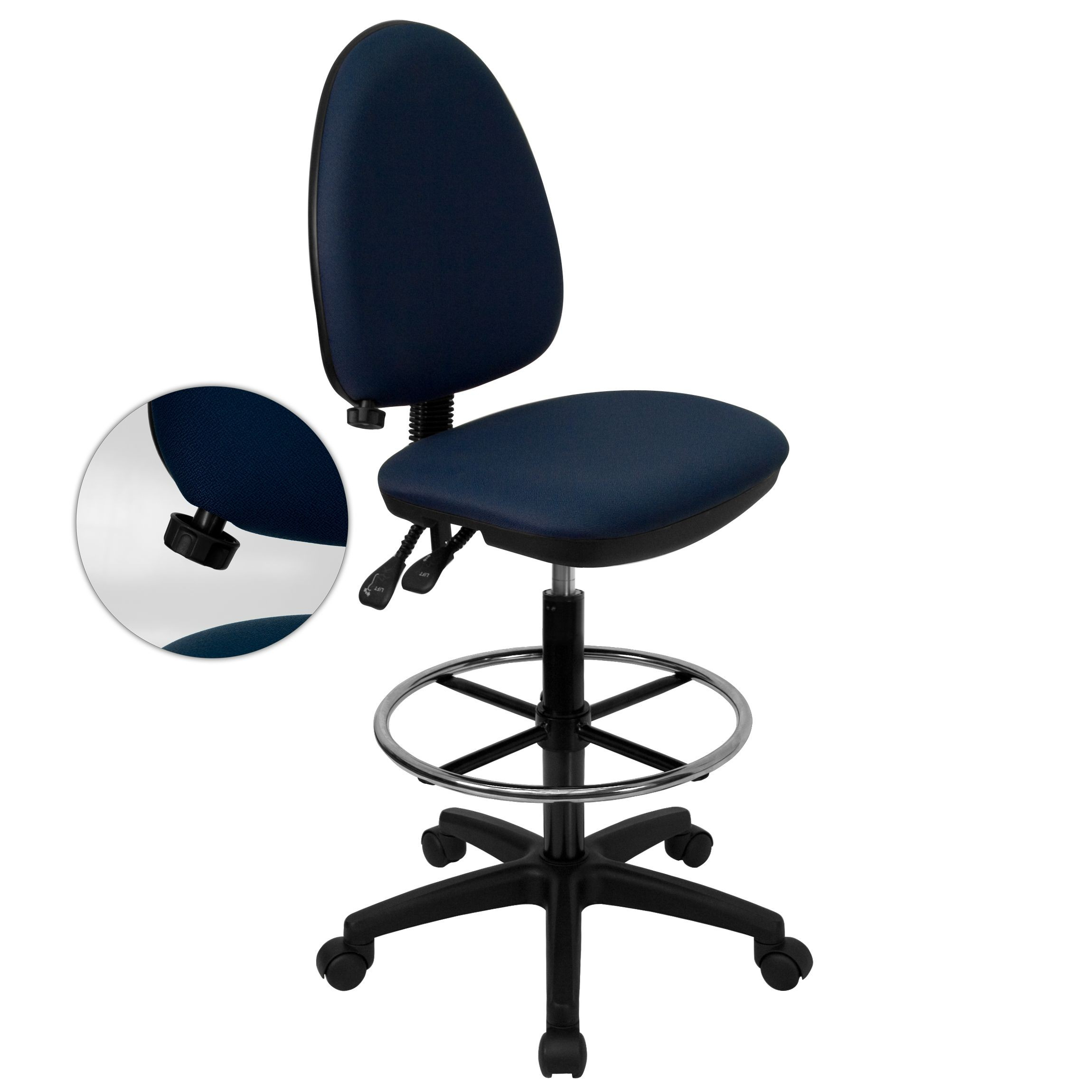 Flash Furniture WL-A654MG-NVY-D-GG Mid-Back Navy Blue Fabric Multi-Functional Drafting Stool with Adjustable Lumbar Support