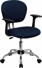Mid-back Navy Blue Mesh Task Chair with Arms and Chrome Base