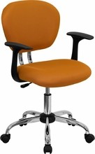 Flash Furniture H-2376-F-ORG-ARMS-GG Mid-Back Orange Mesh Task Chair with Arms and Chrome Base