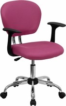 Flash Furniture H-2376-F-PINK-ARMS-GG Mid-Back Pink Mesh Task Chair with Arms and Chrome Base
