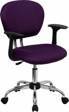 Flash Furniture H-2376-F-PUR-ARMS-GG Mid-Back Purple Mesh Task Chair with Arms and Chrome Base