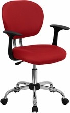 Flash Furniture H-2376-F-RED-ARMS-GG Mid-Back Red Mesh Task Chair with Arms and Chrome Base