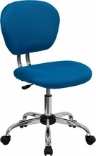 Flash Furniture H-2376-F-TUR-GG Mid-Back Turquoise Mesh Task Chair with Chrome Base