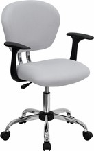 Flash Furniture H-2376-F-WHT-ARMS-GG Mid-Back White Mesh Task Chair with Arms and Chrome Base