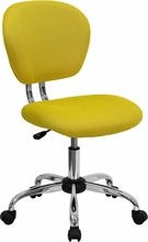 Flash Furniture H-2376-F-YEL-GG Mid-Back Yellow Mesh Task Chair with Chrome Base