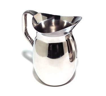 TableCraft 202 Stainless Steel 2-1/8 Qt. Bell Water Pitcher with Mirror Finish