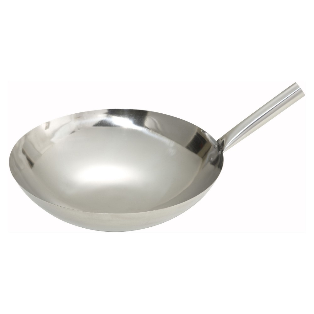 Mirror Finish Stainless Steel Chinese Wok With Riveted Joint- 16