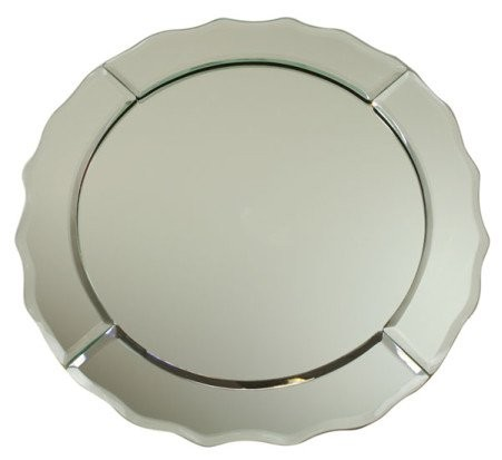 "Jay Import 1330020 Mirror Glass Round Scalloped 13"" Charger Plate"