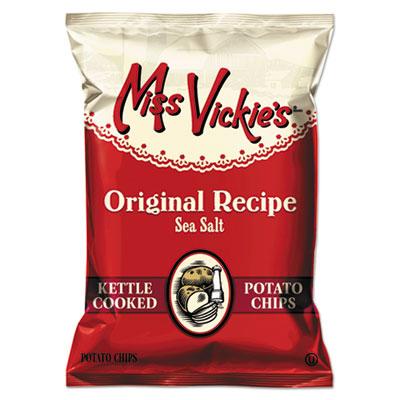 Miss Vickie's Kettle Cooked Sea Salt Potato Chips, 1.38 oz Bag, 64/Carton