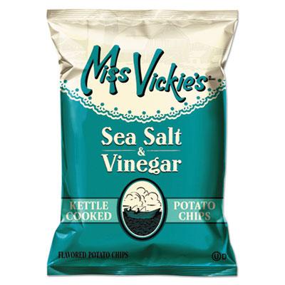 Miss Vickie's Kettle Cooked Sea Salt and Vinegar Potato Chips, 1.38 oz Bag, 64/Carton
