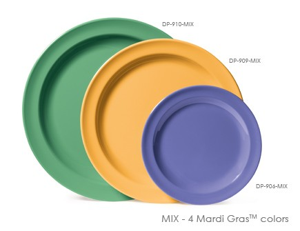 "G.E.T. Enterprises DP-910-MIx Diamond Mardi Gras Mix Melamine Round Plate 10"""