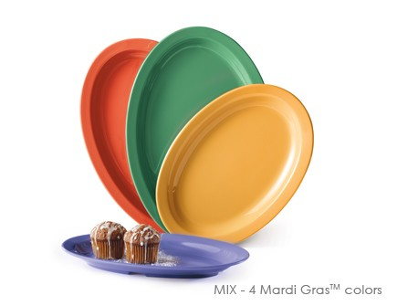 "G.E.T. Enterprises OP-612-MIx Diamond Mardi Gras Mix Melamine Oval Platter, 11-5/8"" x 8-1/8"""
