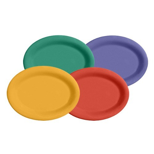 "G.E.T. Enterprises SP-OP-135-MIx Diamond Mardi Gras Mix Melamine 13-1/2"" x 10-1/4"" Oval Platter"