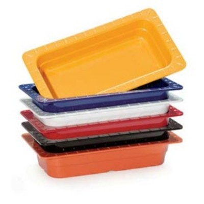 "G.E.T. Enterprises ML-29-BUI Mix Pack of 6 Colors Melamine 1/4 Size Insert Pan, 2-1/2"" Deep"