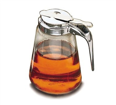 TableCraft 1371 Modern Glass 12 oz. Syrup Dispenser with Chrome Plated Metal Top