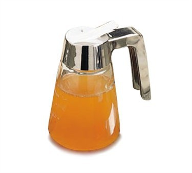 TableCraft 1271 Modern Glass Syrup Dispenser 12 oz. with Chrome Plated ABS Top