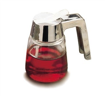 Modern Chrome Plated Glass 8 Oz. Syrup Dispenser With ABS Top
