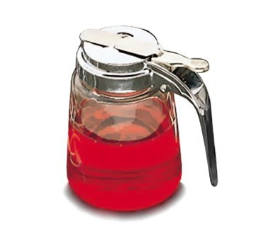 Modern Chrome Plated Glass 8 Oz. Syrup Dispenser With Metal Top