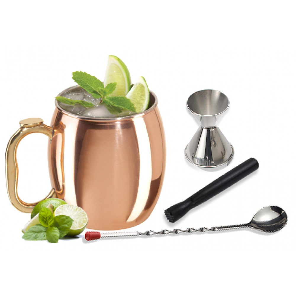Moscow Mule 4-piece Copper Set and Cocktail Making Set Includes Bar Tools and Accessories