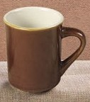 CAC China TM-8-BWN Las Vegas Brown/White Tierra Mug 8 oz.