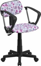 Multi-Colored Flower Printed Computer Chair with Arms