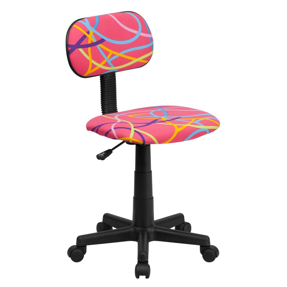 Multi-Colored Swirl Printed Pink Computer Chair