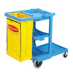 Multi-Shelf Cleaning Cart, 3 Shelves, 21 3/4w x 46d x 38 3/8h, Blue